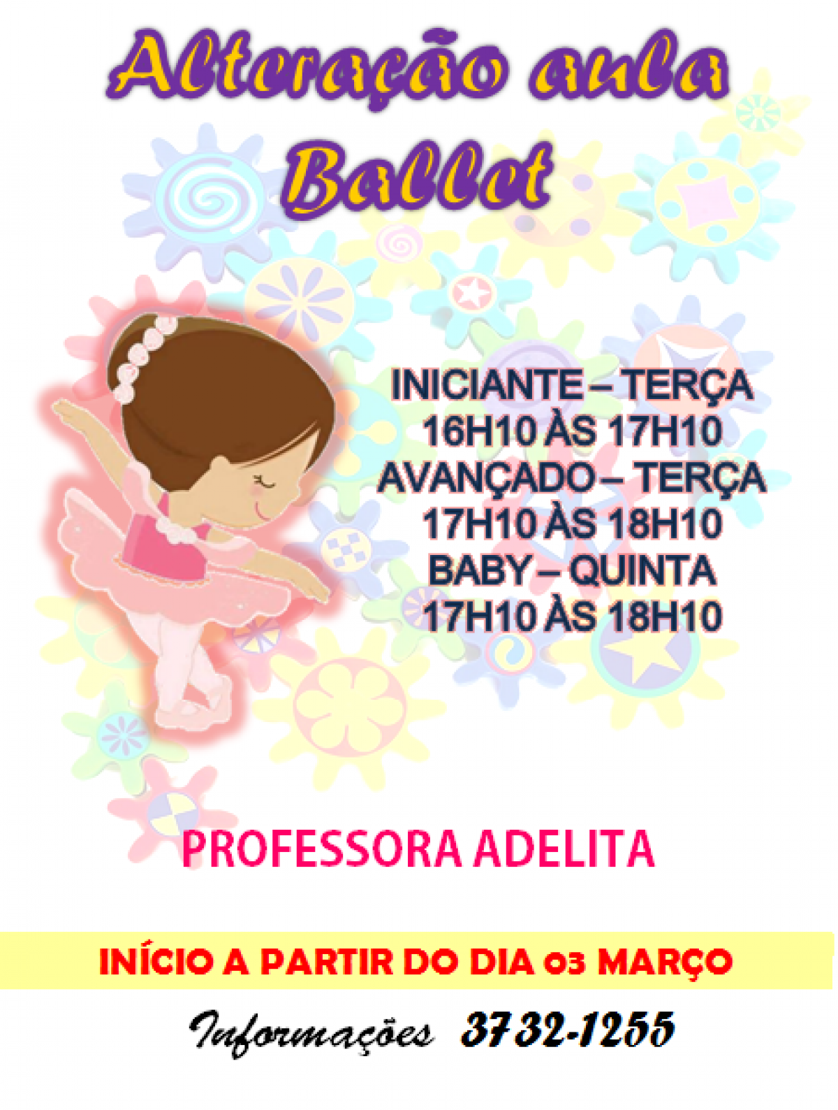 Alteração aula ballet