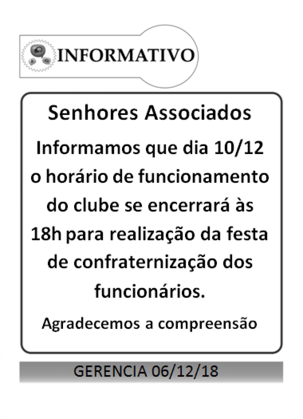 Funcionamento clube dia 10