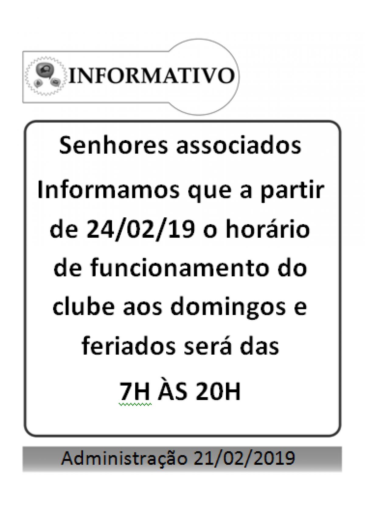 alteração funcionamento clube