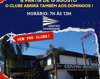 Clube aberto também aos domingos