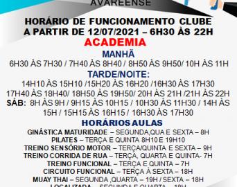 Novo horário funcionamento clube e academia
