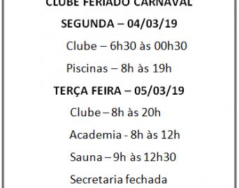 horário clube feriado