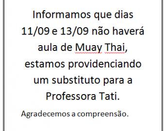 Não haverá aula de Muay Thai